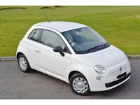 2010 Automatic Fiat 500 ( White / Red-Cream Interior )