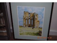 Framed mounted print of Tynemouth Priory Abbey castle