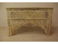 Beautiful hand carved antique Indian solid wood console table