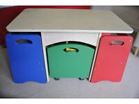 Kids Table and Chairs with Toy Box