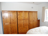 Solid pine doudle wardrobe with 3 drawers
