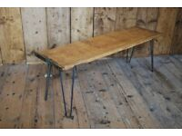 TV stand coffee table side table reclaimed wood plank hairpin upcycle gplanera
