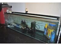 Fish/reptile tank - 130L - 4ft x 1ft - with filter, heater, UV lamp, pump, net and other accessories