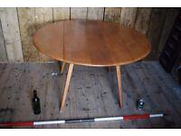 ERCOL drop-leaf table dining kitchen natural finish mid century modern vintage Brighton gplanera