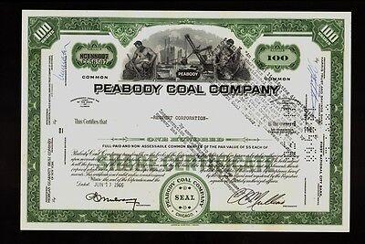 Peabody Coal Company St Louis Missouri   Now Peabody Energy  1966 Old Stock Cert
