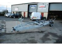 8m twin wheel power boat or rib trailer (not Indespension roller coaster or big dipper)