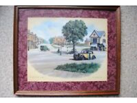 """Four top quality framed prints of """"Old Oadby"""". Painted by well known local artist G R Herickx."""
