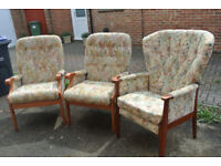 3 Upholstered Chairs by Manor Furniture 1 Carver & 2 Arm chairs with Safety Label