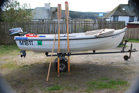 Orkney Spinner 13ft Dinghy with Mariner 5hp 2 stroke longshaft and galvanised trailer