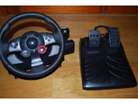 Logitech steering wheel and pedals . Excellent condition.