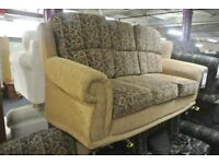 Gold 2 Seater Patterned Fabric Sofa with Armchair