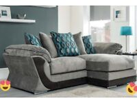 Grey brand new chaise corner sofa with chair FREE DELIVERY