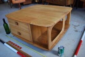 Ercol Pandora coffee table natural finish elm pebble Brighton London England gplanera