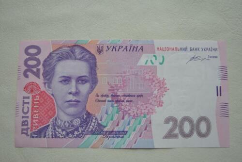 Ukraine 200 Hryven Hryvnia 2014, Gontareva sign., UNC Pick 124-e UNC Banknote