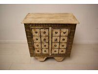 Beautiful antique hand stencilled brass and solid wood wheeled bedside table unit