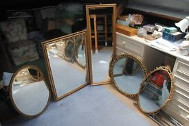 various gold mirrors different sizes