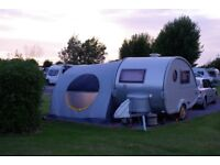 Tab 320 caravan, 2 berth teardrop shape with awning and accessories