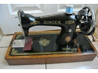 Singer Handcrank sewing machine (SEE LEATHER SAMPLE SEWN)