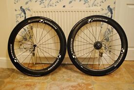 Bontrager Aeolus 5 carbon wheel-set with Ceramic bearings + DHB wheel bags for sale.