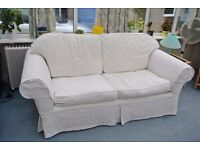 Cream Sofa Bed and Matching Chair in good condition