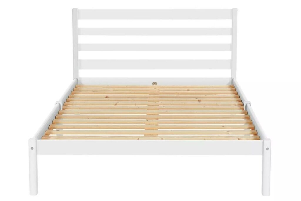 New Argos Home Kaycie Small Queen Double 4ft Bed White Wood New Sprung Mattress In Camden London Gumtree