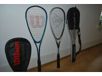 Wilson and Dunlop squash racquet