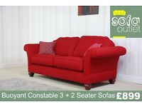 Buoyant Constable Red Fabric 3 + 2 Seater Sofa £899