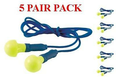 318-1001 3m Ear Push Ins Plugs With Safety Cord - 5 Pair Pack - Free Shipping