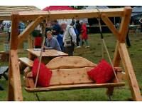 Heavy wooden rustic swing seat. Patio seat, chair, set, garden furniture.