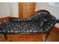 Chaise Longue in lovely grey and black floral upholstery