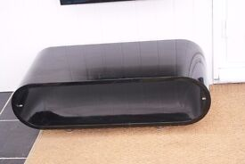 RETRO GLOSS BLACK HOOP DESIGN TELEVISION STAND OR COFFEE TABLE, VERY DESIRABLE, CAN DELIVER