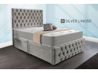 crush velvet chesterfield divan base with choice of mattress
