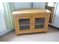 Solid oak corner Television cabinet.