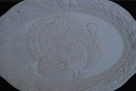 White ceramic serving dish for Christmas dinner