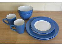 Complete 16-Piece Blue Dinnerware Set