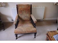 VICTORIAN ARMCHAIR - GOOD CONDITION- NEEDS TLC- REDUCED FOR QUICK SALE