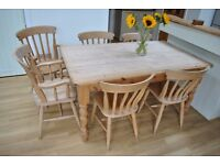 5ft x 3ft Pine kitchen table with 6 chairs