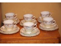 Royal Vale Trios Cups Saucers Plates Primrose Yellow Gold and White set of 6 plus cake plate