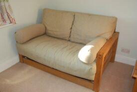 Futon Company Oke - 2 Seater Solid Oak Sofa Bed