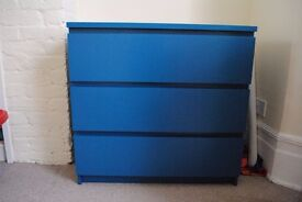 MALM Blue Chest of 3 Drawers