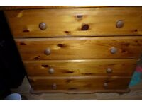 solid wood pine chest & drawers