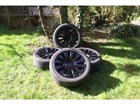 "Black 12 Spoke 17"" Alloy Wheels (VW, Audi, Seat, Skoda)."