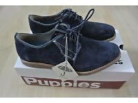 NEW & BOXED HUSH PUPPIES NAVY BLUE SUEDE MEN'S SHOES Hans Jester Size UK 7 WIDE smart formal
