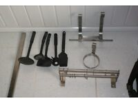 DOUBLE STAINLESS STEEL RAIL WITH HOOKS, UTENSILS, PAPER/CUP/MAGNETIC KNIFE HOLDERS, £18 CAN POST