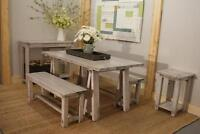 Rustic farmhouse dining table $995 and more. By LIKEN Woodworks
