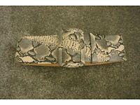 Real Leather snakeskin print belt. Broad with single large buckle in matching leather.