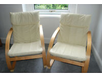 NEW REDUCED PRICE - Pair of leather and wood chairs - excellent condition