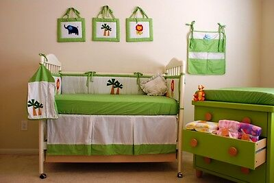11 PCS-New Infant Baby Boy Embroidered Jungle Animals Crib Nursery Bedding Set, used for sale  Chino Hills