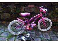 Apollo Girls bike 16'' + stabilizer and helmet