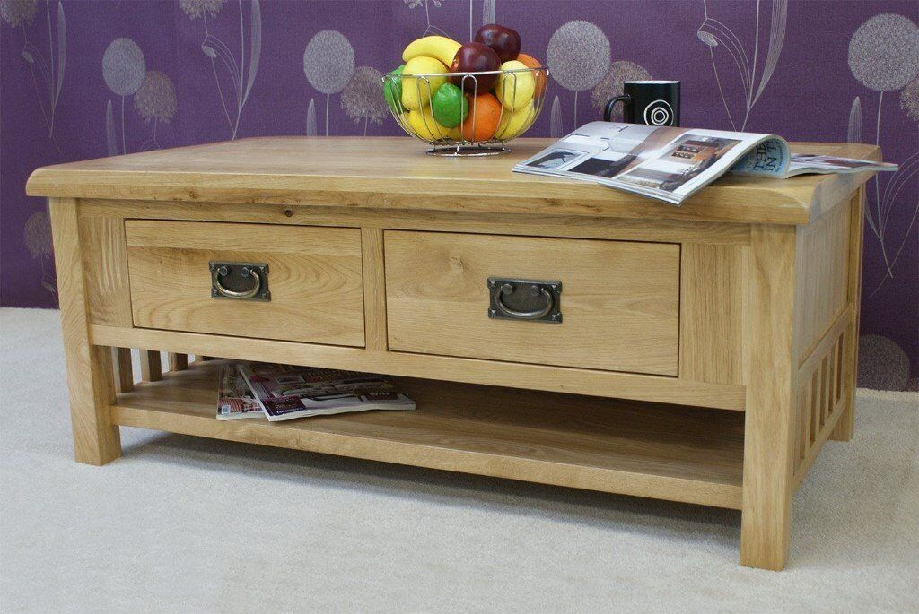 Casamore Farmhouse Style Oak Coffee Table With Two Drawers And Shelf